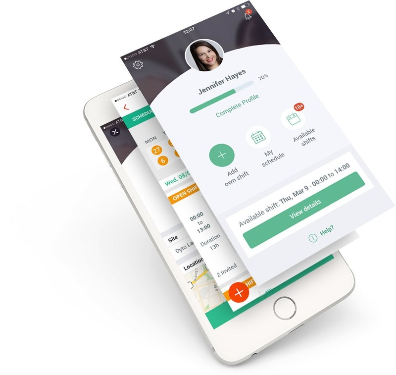 Multiple Views of Swift Shift's Home Health Mobile Application