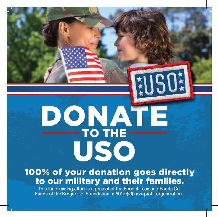 Food 4 Less stores in Southern California and Foods Co stores in Central and Northern California will be collecting donations for the USO from May 24 to July 15.