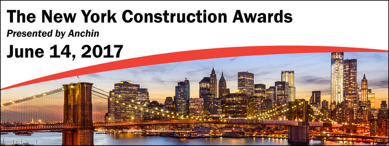 The New York Construction Awards, presented by Anchin, will be on June 14, 2017 in New York City. This year's event will honor six companies with inspiring stories.