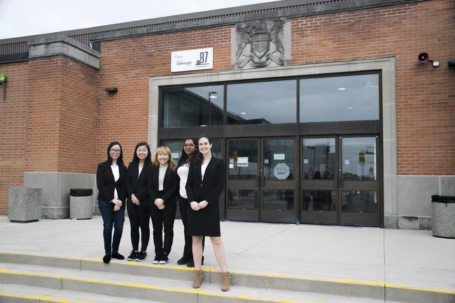 Student leads outside the Downsview Ministry of Transportation head office after their meeting. From left to right, Megan Zhu, Ke Xin Lin, Venice Cheng, Arathi Sritharan and Raluca Gondor. (CNW Group/Ignight, A Junior Achievement Company)
