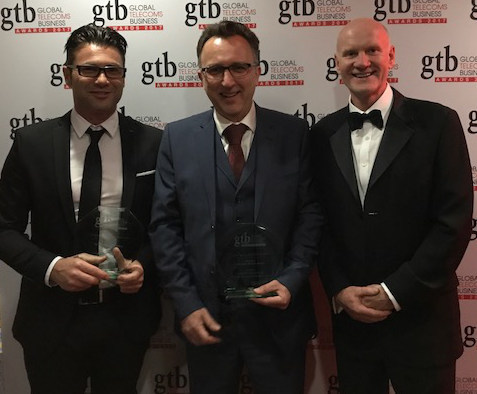 Accedian and Reliance Jio received a Global Telecoms Business Innovation Award, in the 'Infrastructure Innovation' category, during 2017 GTB Telecoms Innovation Summit in London. Left to Right: Tareq Amin, SVP Technology Development and Automation, Reliance Jio;  Peter Newcombe, VP Sales EMEA, Accedian; Steve Colvin, Regional Director UK and Northern Europe, Accedian. (CNW Group/Accedian Networks Inc.)