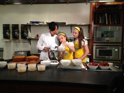 """Hadley and Delaney Robertson cook alongside Joanne Chang, the Owner and Head Pastry Chef of the Flour Bakery, during the Emmy nominated """"Science of Sugar and the Chemistry of Baking"""" episode"""
