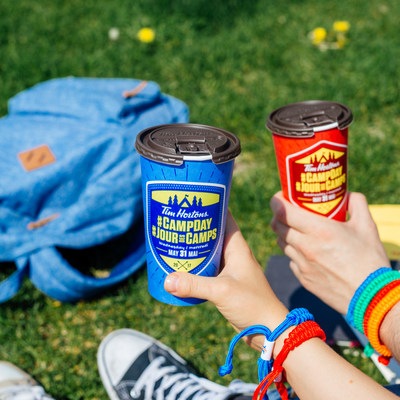 On May 31st, 100 per cent of the proceeds from all hot coffee purchases at participating Tim Hortons restaurants will be donated to the Tim Horton Children's Foundation to help send kids from low income families to camp. For the second year, Tim Hortons Guests can also purchase a limited edition Camp Day bracelet at participating Tim Hortons restaurants available in four different colours: blue, red, green and orange. (CNW Group/Tim Hortons)