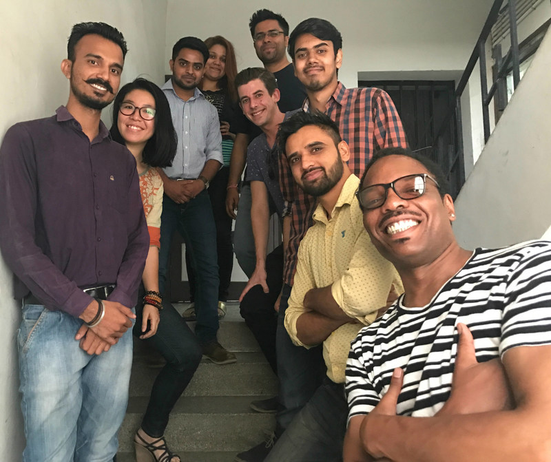 "The Commonstake Team the Day Before the #CommonstakeBeta Launch: Three of Scalechange's cofounders with the talented developers and designers at W3Villa in New Delhi, India. ""We're very proud of our work on Commonstake with Scalechange and have been inspired to integrate a social mission into our own business model. We look forward to helping more purpose-driven companies in the future,"" said Ishank Gupta, the young founder of W3Villa Technologies."