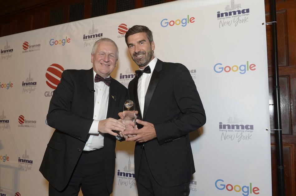 Mark Dekan, CEO Ringier Axel Springer Media AG (right) and Mark Challinor, President INMA (PRNewsfoto/Ringier Axel Springer Media AG)