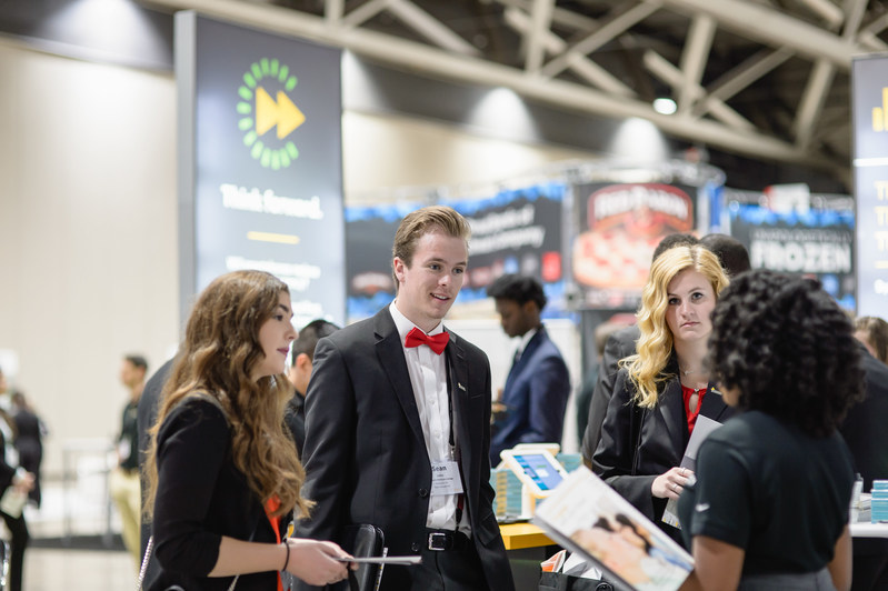 Students interviewed for jobs and internships at the Enactus Career Fair, where recruiters from 35 companies vied for talent, and in some cases offered jobs on the spot.