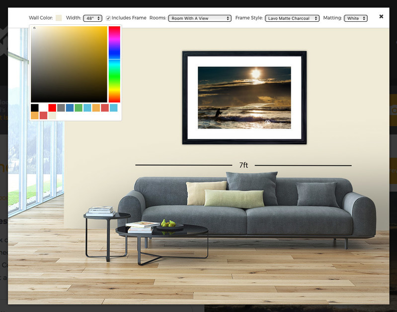 Virtual reality room preview tool. Customers can preview any Compassion Gallery art in multiple rooms, frame styles, wall colors and sizes, before they buy it.