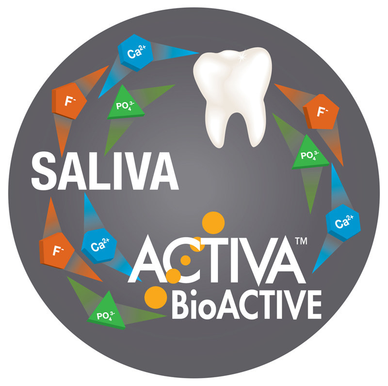 Bioactive dental materials like ACTIVA BioACTIVE are moisture-friendly and respond to pH changes in the mouth to reduce erosion from dietary sugars and fortify our saliva with the calcium, phosphate and fluoride that rebuild and protect our teeth.