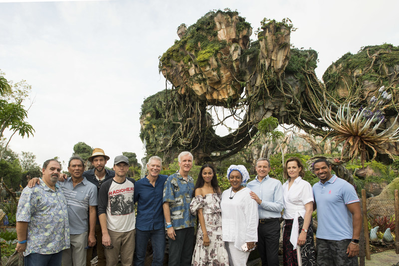 (L-R) Jon Landau, Wes Studi, Joel David Moore, Sam Worthington, Stephen Lang, James Cameron, Zoe Saldana, CCH Pounder, Bob Iger, Sigourney Weaver and Laz Alonso pose during the dedication of the new land, Pandora – The World of Avatar, at Disney's Animal Kingdom on Wednesday, May 24, 2017. Walt Disney Imagineering, in collaboration with Cameron and Lightstorm Entertainment, brought to life the mythical world of Pandora, inspired by Cameron's blockbuster film AVATAR at Walt Disney World Resort.