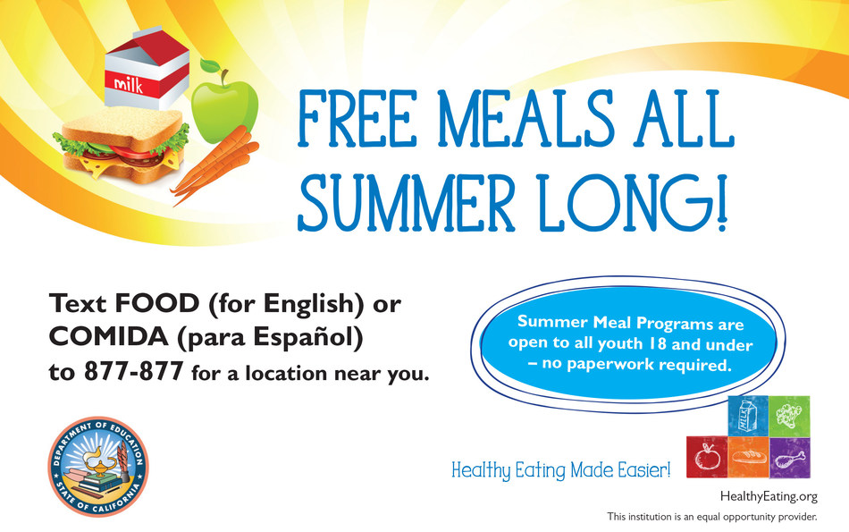 "Up to 85% of California kids and teens, ages 18 and under, who rely on free or reduced cost meals at school miss out on free meals during the summer. Dairy Council of California fights the summer hunger gap and builds appetites for free, healthy #SummerMeals that include milk. To find a local meal site, text ""FOOD"" or ""COMIDA"" to 877-877 or call 2-1-1. No enrollment paperwork or identification required. More at HealthyEating.org (Imagen también está disponible en Español.)"