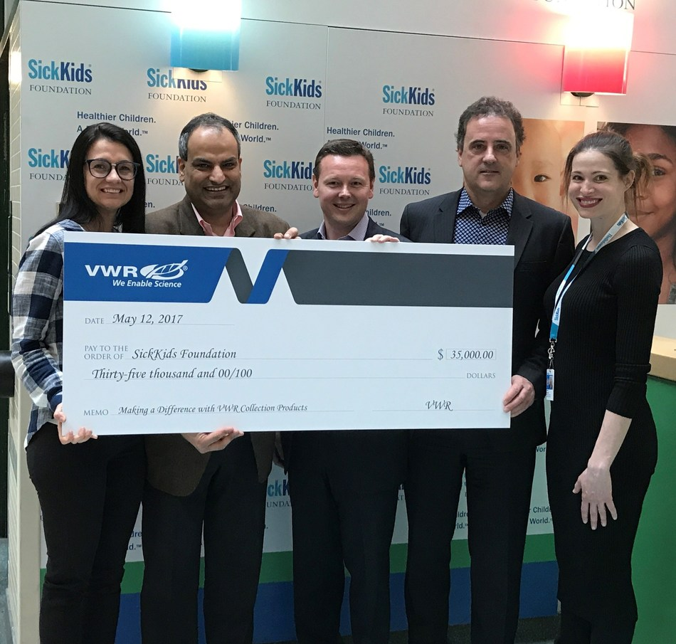 VWR presents SickKids Foundation with a $35,000 donation as a result of VWR Collection sales in Canada in 2016. (L to R: Crystal Michaud, Sales Representative for VWR; Nav Arora, General Manager, Canada & SVP, Global Mining for VWR; Jeff Rands, Director, Region Sales for VWR; Bruno Cuoci, VP, Sales for VWR; and Sarah Bywater, Manager, Corporate Sponsorships for SickKids Foundation)