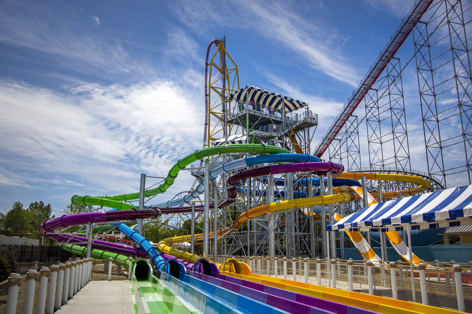 Point Plummet, a six-story aqua-drop body slide and Portside Plunge, a five-story inner tube slide are the main attractions on this towering structure at the new Cedar Point Shores Waterpark in Sandusky, Ohio. Cedar Point Shores opens to the public on Saturday, May 27.