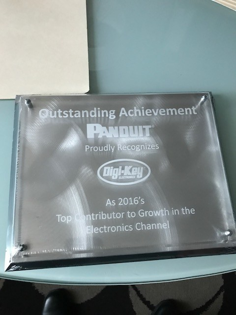 Digi-Key Receives Recognition as Panduit's 2016 Top Contributor to Growth in the Electronics Channel