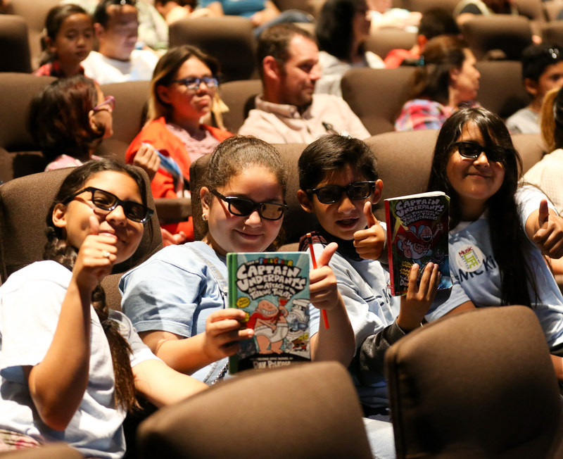 """Students from McKinley Elementary (Compton) and Providencia Elementary (Burbank) attend an advanced screening of DreamWorks Animation's """"Captain Underpants: The First Epic Movie"""" hosted by Education Through Music-Los Angeles at DreamWorks Animation Studios on May 22, 2017 in Glendale, CA. Photo by Danny Moloshok. www.etmla.org"""