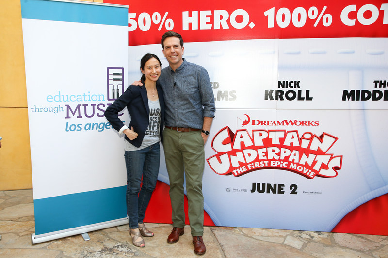 """Education Through Music-Los Angeles Executive Director Victoria Lanier and Actor Ed Helms attend an advanced screening of """"Captain Underpants: The First Epic Movie"""" hosted by Education Through Music-Los Angeles with a Q&A featuring Helms, Voice of Captain Underpants, at DreamWorks Animation Studios on May 22, 2017 in Glendale, California. Photo by Danny Moloshok. Moloshok Photography, Inc., danny@molophoto.com, etmla.org"""