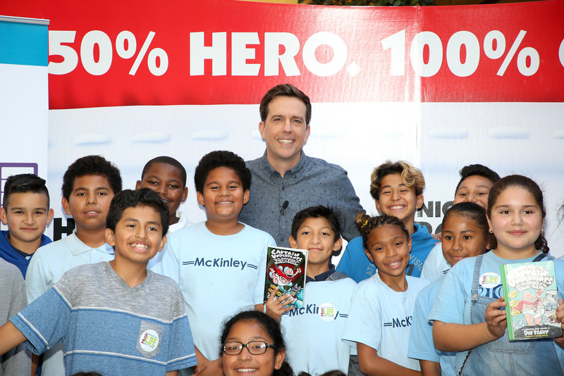 """Students from McKinley Elementary (Compton) and Providencia Elementary (Burbank) meet Actor Ed Helms, Voice of Captain Underpants, at an advanced screening of """"Captain Underpants: The First Epic Movie"""" hosted by Education Through Music-Los Angeles at DreamWorks Animation Studios on May 22, 2017 in Glendale, California. Photo by Danny Moloshok. Moloshok Photography, Inc., danny@molophoto.com, etmla.org"""