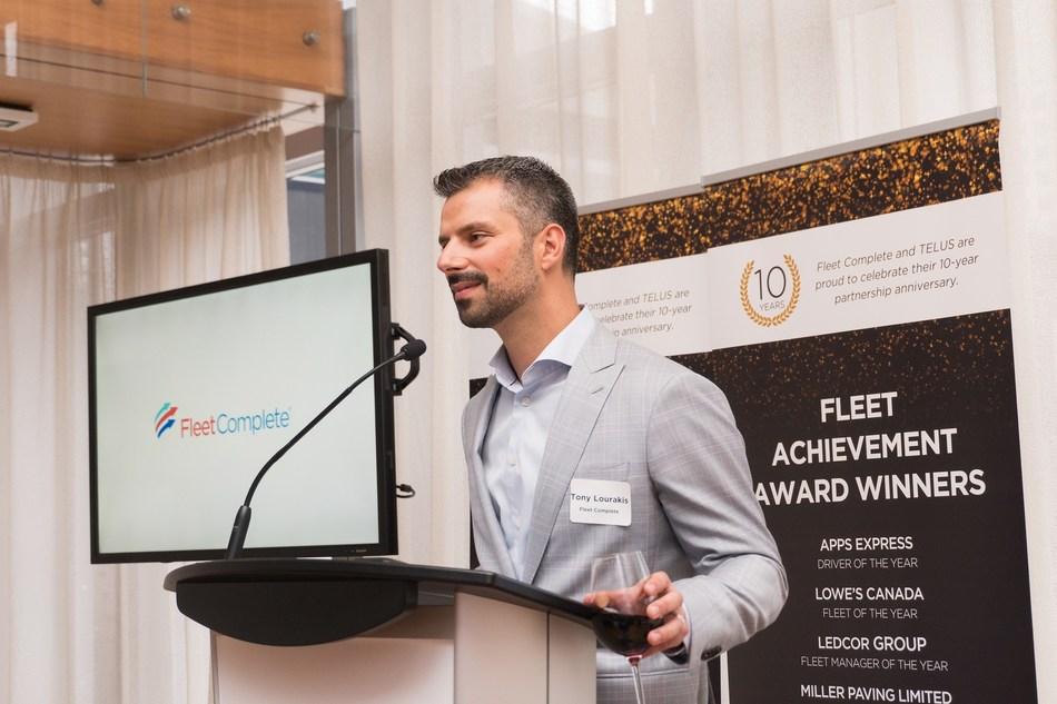 Tony Lourakis, Fleet Complete CEO at the 2017 Fleet Achievement Awards. (CNW Group/Fleet Complete)