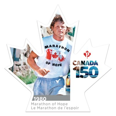 Le sixième timbre Canada 150 célèbre le Marathon de l'espoir (Groupe CNW/Postes Canada)
