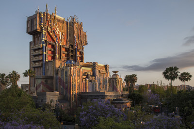 "Guardians of the Galaxy--Mission: BREAKOUT! -- The exterior of The Collector's Fortress shimmers at dusk at Disney California Adventure Park, enticing guests to explore the new attraction Guardians of the Galaxy-Mission: BREAKOUT!  The epic new adventure blasts guests straight into the ""Guardians of the Galaxy"" story for the first time, alongside characters from the blockbuster films and comics. Rocket is asking guests to help him rescue his pals from The Collector's grandiose Fortress. (Joshua Sudock/DIsneyland Resort)"
