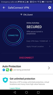 Security Master's SafeConnect feature, powered by AnchorFree's Hotspot Shield VPN technology, enhances mobile internet security through protecting and encrypting all data transmitted across the internet.