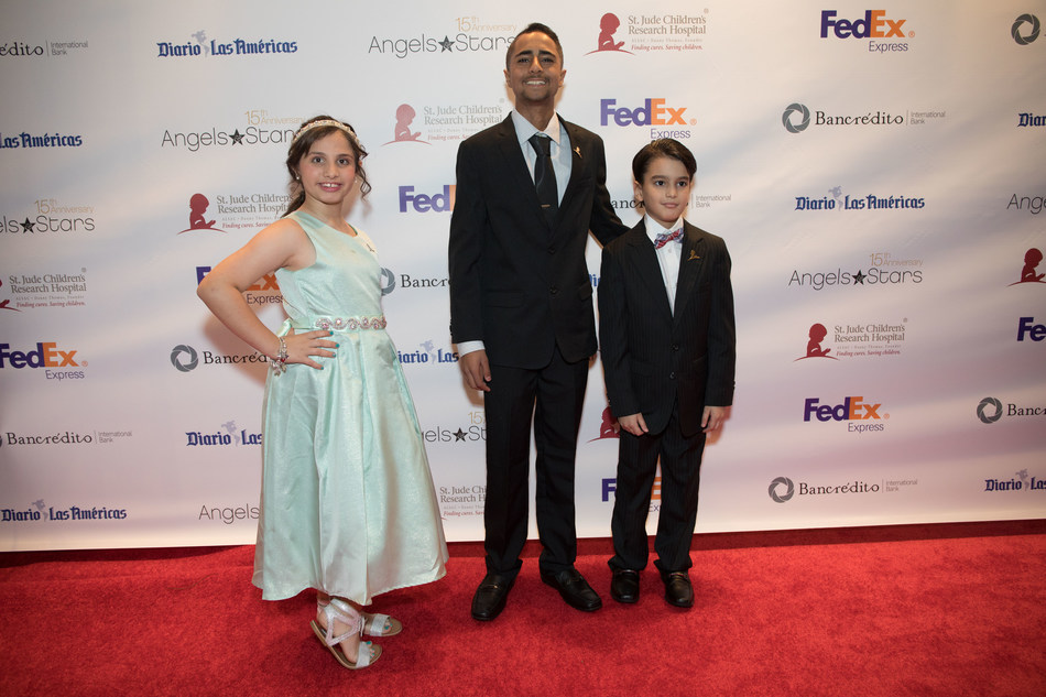 St. Jude patients Victoria, Christopher and Hender attend the 15th annual FedEx St. Jude Angels & Stars Miami Gala on Saturday