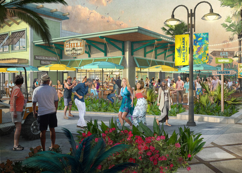 Margaritaville signature concept restaurant and Town Center rendering