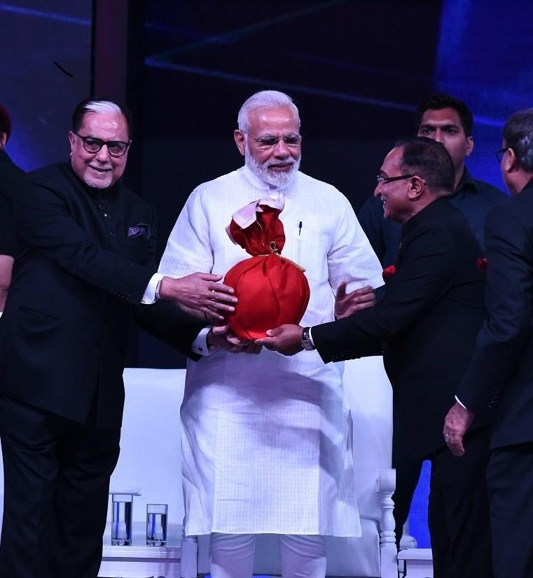L-R Essel Chairman Dr. Subhash Chandra with India PM Narendra Modi and President Pranab Mukherjee