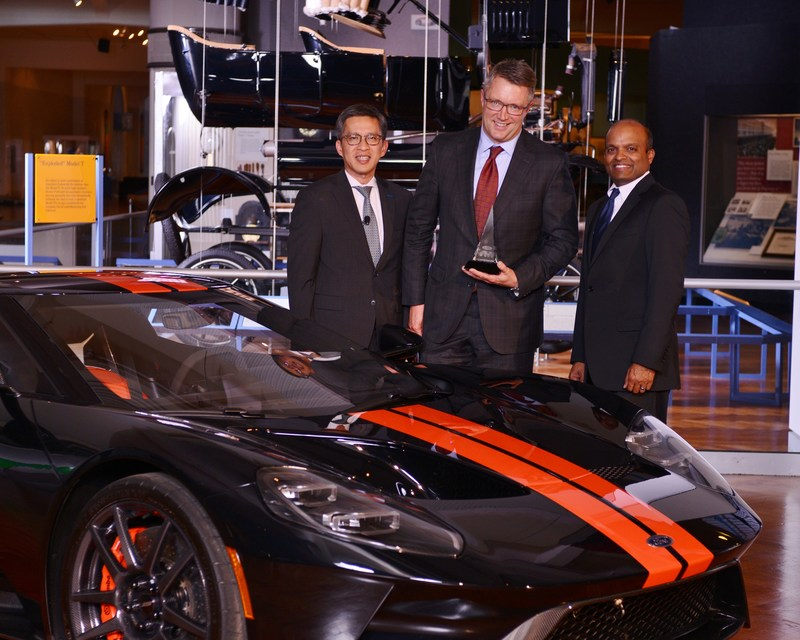 From left to right: Hau Thai-Tang, executive vice president, product development and purchasing, Ford Motor Company, Jon DeGaynor, president and chief executive officer, Stoneridge, Inc., and Raj Nair, executive vice president and president of North America, Ford Motor Company.