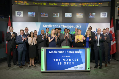Fahar Merchant, PhD, Co-Founder, Chairman, President and CEO, Medicenna Therapeutics Corp. (MDNA), joined Tim Babcock, Director, Listed Issuer Services, TSX Venture Exchange, to open the market. Medicenna is a clinical stage immuno-oncology company that is developing therapeutics for the treatment of central nervous system cancers. Medicenna Therapeutics Corp. commenced trading on the TSX Venture Exchange on March 3, 2017. (CNW Group/TMX Group Limited)