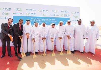 Senior officials launching the first waste-to-energy plant in the Middle East, which will treat, within its first phase, more than 300,000 tonnes of municipal solid waste (MSW) each year and have a power capacity of around 30 megawatts (MW). (PRNewsfoto/Bee'ah)