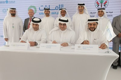Signing of waste supply and power purchase agreements for WTE facility witnessed by HE Dr Thani bin Ahmed Al Zeyoudi, UAE Minister of Climate Change and Environment (PRNewsfoto/Bee'ah)