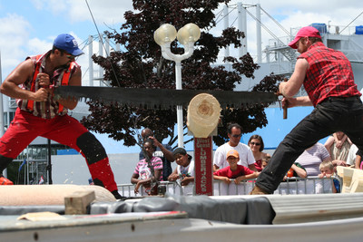 The West Coast Lumberjack Show will deliver 45 minutes of non-stop lumberjack action, including log-rolling, tree climbing, log sawing and axe throwing at the Redpath Waterfront Festival at Sherbourne Common, July 1-3.  For further festival details visit Towaterfrontfest.ca (CNW Group/Water's Edge Festivals & Events)