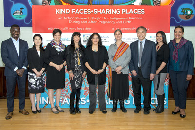 (From left to right): Mr. Chirfi Guindo, President and Managing Director, Merck Canada Inc.; Ms. Jennifer Chan, Vice-President, Policy and Communications, Merck Canada Inc.; Ms. Sara Wolfe, Partner, Seventh Generation Midwives Toronto and Community Research Associate, Well Living House Action Research Centre for Indigenous Infant, Child and Family Health and Wellbeing, St. Michael's Hospital; Dr. Suzanne Stewart, Director, Waakebiness-Bryce Institute for Indigenous Health; Ms. Theresa Burning, Tenant Relations Worker, Nishwabe Homes Inc.; Dr. Janet Smylie, Associate Professor, Dalla Lana School of Public Health, Director, Well Living House Action Research Centre for Indigenous Infant, Child and Family Health and Wellbeing and Research Scientist, Centre for Urban Health Solutions, St. Michael's Hospital; Dr. Howard Hu, Dean, Dalla Lana School of Public Health; Summer Faith Garcia, Indigenous mother; and Dr. Mary-Ann Etiebet, Executive Director, Merck for Mothers. (CNW Group/Merck Canada Inc.)