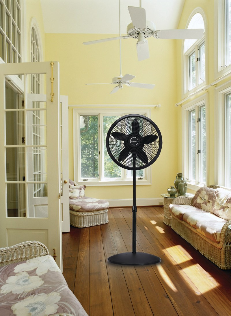 "Create ongoing airflow throughout multiple rooms and spaces with the Lasko 18"" Pedestal Fan."