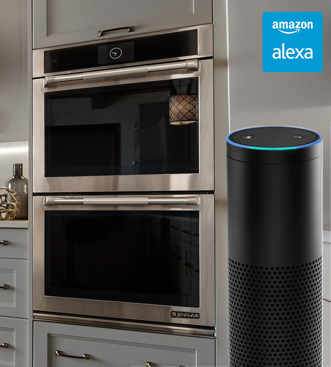 """Owners of Jenn-Air® Connected Wall Ovens can now use their voices, along with the brand's existing IOS and Android wall oven apps, to control many essential functions of this luxury, high tech appliance.  The new voice command feature, enabled by Amazon's Alexa voice assistant, is easily activated using the brand's free wall oven """"Skill,"""" one of thousands available at the Alexa Skills Store."""