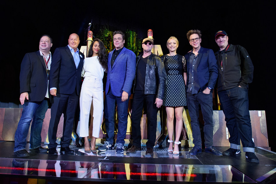 """Anaheim (May 25, 2017) Joe Quesada, Chief Creative Officer of Marvel Entertainment, Bob Chapek, Chairman of Walt Disney Parks and Resorts, Zoe Saldana, Benicio del Toro, Michael Booker, Pom Klementieff, James Gunn and Kevin Feige, President of Marvel Studios, at the grand opening of the new Guardians of the Galaxy-Mission: BREAKOUT! attraction at Disney California Adventure park, in Anaheim, Calif., on Thursday. The epic new adventure blasts guests straight into the """"Guardians of the Galaxy"""" story for the first time, alongside characters from the blockbuster films and comics.  (Joshua Sudock/Disneyland Resort)"""