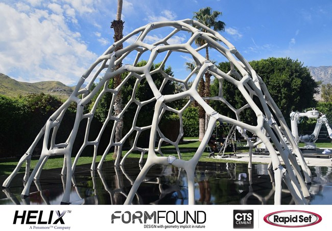 Form Found Design (FFD) combined Helix Steel Twisted Steel Micro Rebar and CTS Rapid Set Cement All to realize the MARS Pavilion.  Yet another American Innovation with Global Significance.