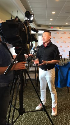 Tommy Tam, Profession Golfer in the PGA Chinese Division, speaks to the media about participating in the first Annual World Vision Golf Tournament being hosted at Angus Glen Golf Club. (CNW Group/World Vision Canada)
