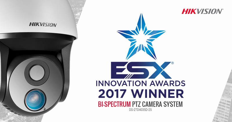 Hikvision's DS-2TD4035D-25 Bi-Spectrum PTZ Camera System has been named the 2017 ESX Innovation Award winner in the video surveillance category.
