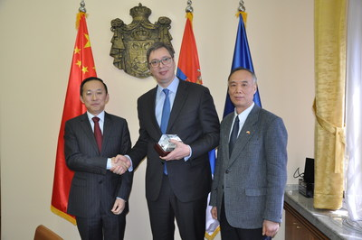 Vucic the Premier of Serbia meets with Mr. Chen Zhiqiang the President of Nuctech