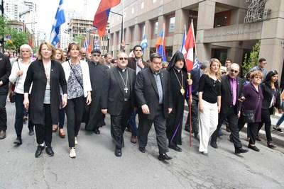 Politiciens réunis à Montréal ville des droits humains avec les communautés grecques, kurdes, juives, rwandaises, sikhes, syriaques et arméniennes (Groupe CNW/Comité national arménien du Canada)