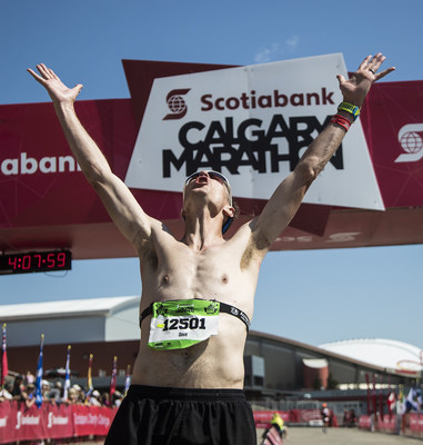 Local Ultra Runner, Dave Proctor came across the finish line first after having run all night the night prior in the first 150K ultra marathon to honour Canada's 150th birthday this year. (CNW Group/Scotiabank)