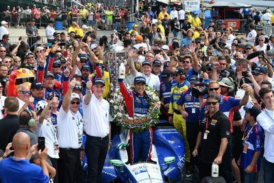Standing beside the Borg-Warner Trophy™, BorgWarner President and Chief Executive Office James Verrier congratulated Takuma Sato on his victory at the 101st running of the Indianapolis 500.