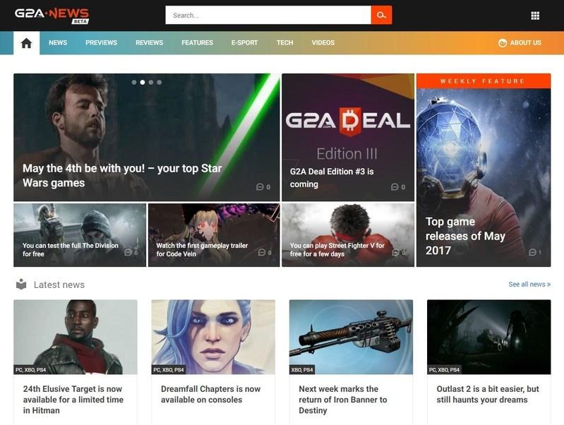 The appearance of the G2A News website (PRNewsfoto/G2A.com)