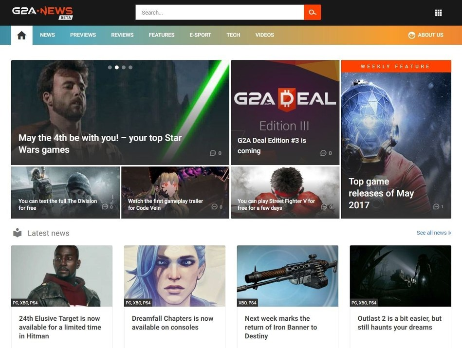 The appearance of the G2A News website (PRNewsfoto/G2A.com)