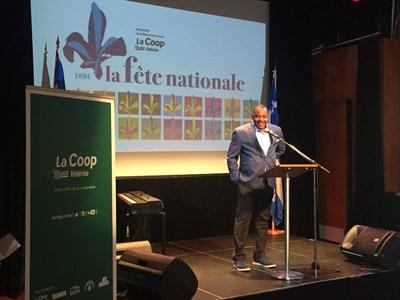 M. Ben Marc Diendéré, vice-président principal Communications, affaires publiques et image de marque de La Coop fédérée lors du lancement de la programmation 2017 de la Fête nationale du Québec à Montréal au Monument-National (Groupe CNW/La Coop fédérée)