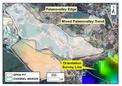 Figure 3: Gridded data from a geophysical orientation survey section over the ESE extension of a palaeochannel. Mining activity (outlined) can be seen to terminate at an access road crossing the channel trend. The extension of the channel position is marked by deeper reflections in the GPR survey (yellow-green colouration). (CNW Group/Meridian Mining S.E.)