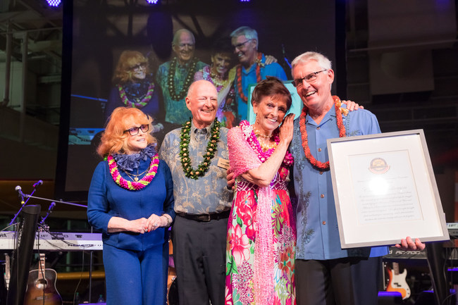 Ann-Margret presented an award to Carole Hickerson, from left to right: Ann-Margret, Jim Hickerson, Carole Hickerson, and Kenneth DeHoff.