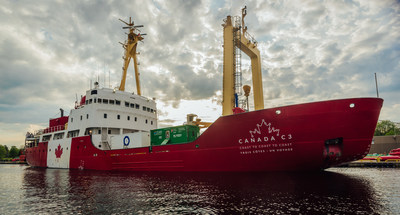 The Canada C3 expedition vessel, a 67 metre (220 ft.) Canadian-flagged research icebreaker. For the first time, Bullfrog Power's green fuel will reduce the impact of ship travel by bullfrogpowering the first leg of Canada C3's 150-day journey from Toronto to Victoria via the Northwest Passage. (CNW Group/Bullfrog Power)