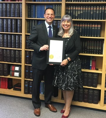 Anne Rubin, Managing Partner with CENTURY 21 Advantage Gold poses with Josh Shapiro, Pennsylvania Attorney General after she was sworn in on Friday, May 26 to serve on the Pennsylvania State Real Estate Commission. Rubin was appointed by PA Governor Tom Wolf.